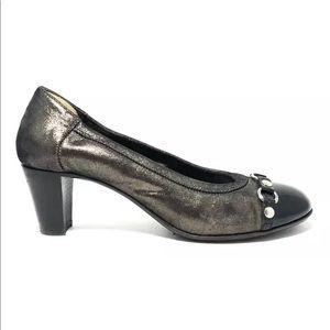 AGL Women's Bronze Leather Cap Toe Low Heel Pumps